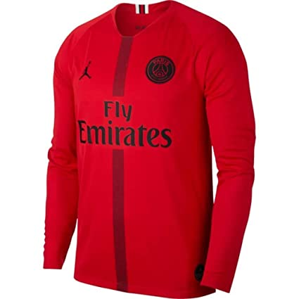 1d07796358d Nike 2018-2019 PSG Home Goalkeeper Football Soccer T-Shirt Jersey (Red)