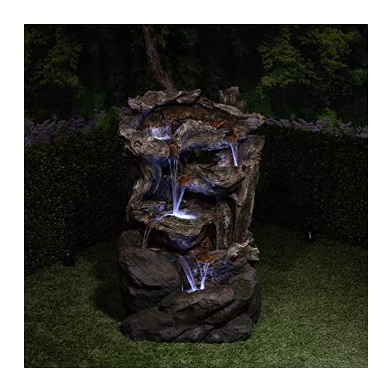 Alpine Corporation 6-Tier Rainforest Rock Water Fountain with LED Lights - Outdoor Water Fountain for Garden, Patio, Deck, Porch - Yard Art Decor - WATERFALL FOUNTAIN: Garden water fountain is the perfect addition to your outdoor decor. Interior pump keeps the water flowing - just plug it in! RELAXING WATER FLOW: Water trickles from each tier to mimic the sounds of a real waterfall, adding peaceful ambiance to your outdoor setting NATURAL LOOK: Realistic brown stone tower brings a touch of natural beauty to your space - patio, outdoor-decor, fountains - 51lr%2B5zsVKL. SS570  -