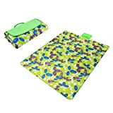 Green & Grass Paided Portable Picnic Blanket Waterproof Beach Mat Outdoor Camping Moistureproof Gift 200 200cm / 78.74 78.74in