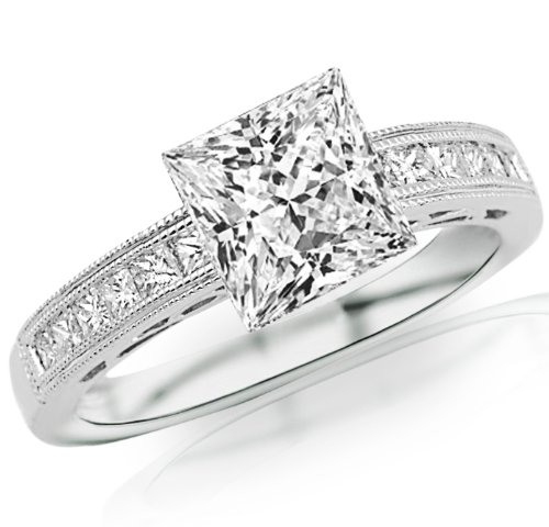 2 Carat 14K White Gold Channel