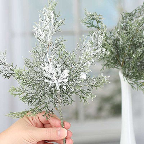 Factory Direct Craft Bundle of Frosted, Glittered Artificial Cypress Pine Sprays for Home and Holiday Decorating and Arranging