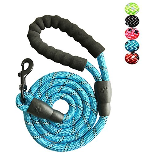YSNJXL 5 FT Strong Dog Leash for Medium Large Dogs Heavy Duty Rope with Reflective Threads Padded Handle for Big Dogs Puppy