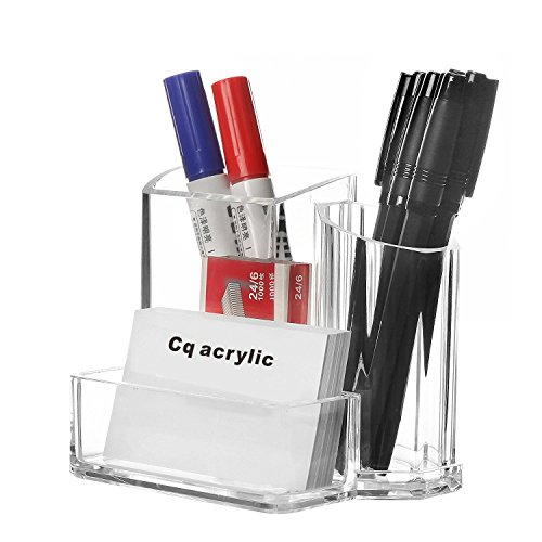 Cq acrylic Pen and Pencil Holders,Business Card Holder and Office Desktop Organizer,Pack of 1