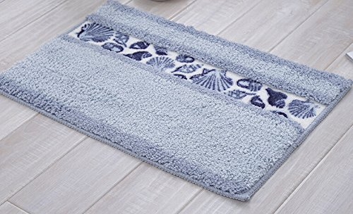- Sytian Decorative Floral Design Rural Style Beautiful Seashell Pattern Shaggy Area Rug Soft Non Slip Absorbent Bath Mat Bathroom Shower Rug Bedroom Living Room Carpet (40x60cm,Sky Blue)
