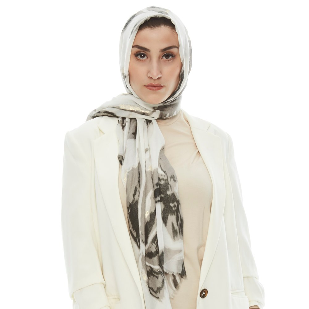 Golden Petal Printed Scarf for Women | Lightweight Cotton Head Wrap | Casual Cool Scarves (Grey)