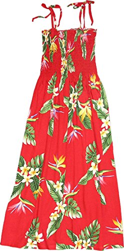 Bird Of Paradise Display - RJC Womens Bird of Paradise Display Elastic Tube Top Sundress in Red - M