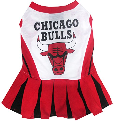 (Pets First NBA Chicago Bulls Dog Cheerleader Dress, Small)
