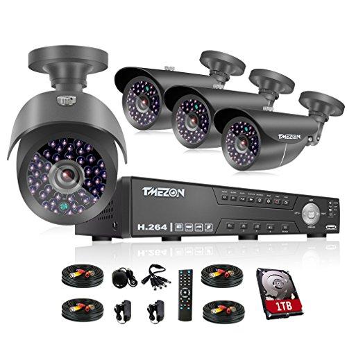 TMEZON 4CH 1080N AHD DVR Video Surveillance System + 4 Pcs Waterproof Outdoor HD 2000TVL 2.0MP 1080P Bullet Cameras Home Security Kit (1TB HDD)