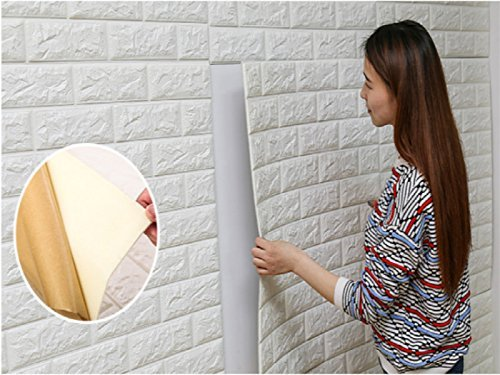 18pcs 27x30 Inch 3D Brick PE Foam DIY Wall Sticker Self Adhesive Wallpaper ,White Brick Wallpaper,3D Wall Panels