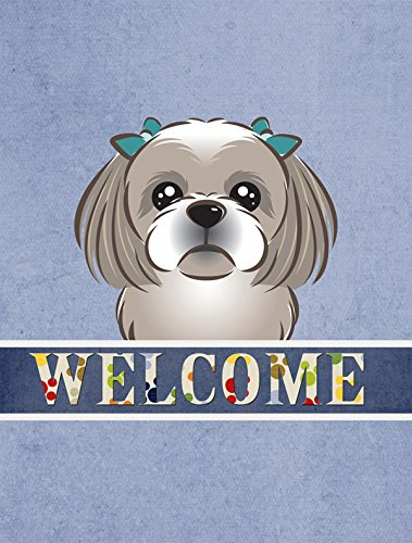 Caroline's Treasures BB1436CHF Gray Silver Shih Tzu Welcome Flag Canvas, Large, Multicolor from Caroline's Treasures