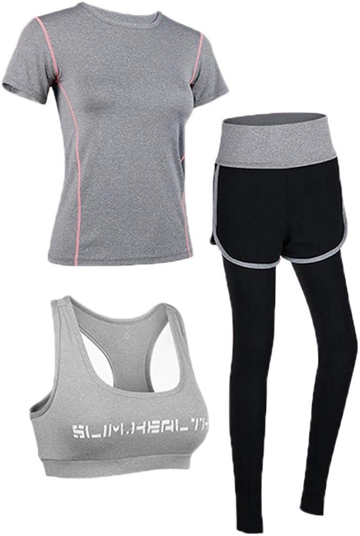 Damen Trainingsanzug Set Yoga Jogging Lauf Anzug Uni-Wert Bekleidung Yoga Set Frauen 3er-Set Sportanzug Atmungsaktiv Schnell Trocknend Gym Fitness Outfit Sportsuit Training Sweatsuit Dreiteilig