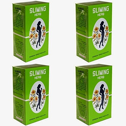 Pack of 4 Boxes GERMAN HERB Slimming SLIMING Tea - Quick Slim - Weight loss - Diet – - Pads Piece Nose One Glasses For