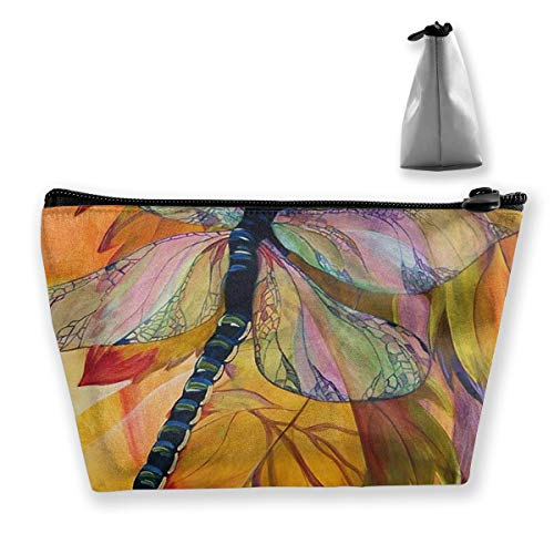 (FJSLIE Watercolor Vineyard Dragonfly Women Cosmetic Bags Multi Function Toiletry Organizer Bags,Hand Portable Pouch Travel Wash Storage Capacity with Zipper(Trapezoidal))