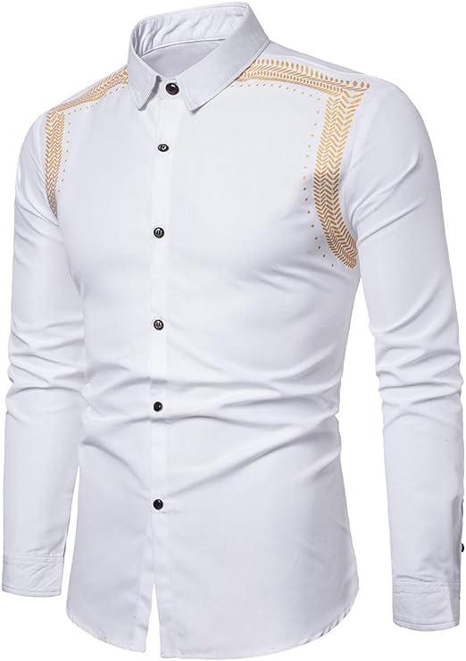 Hombre Camisa Slim Fit Manga Larga Color Sólido Casual Camisa Estampada con Orejas De Trigo Doradas: Amazon.es: Ropa y accesorios