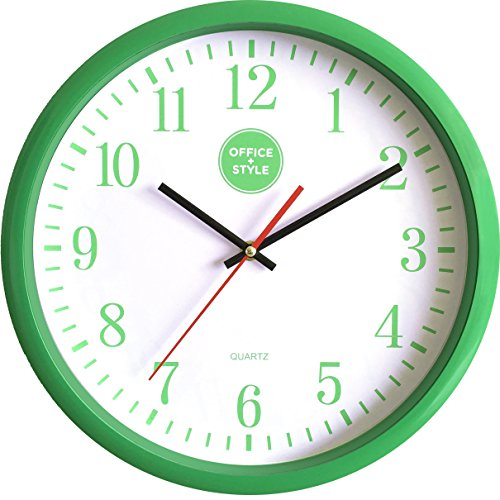 """Office + Style 13"""" Silent Quartz Wall Clock with Anti-Scratch Cover- - Perfect Face Calculator"""