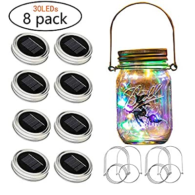 Solar Mason lid Light, 8 Pack of 30 LEDs Light String Fairy Firefly lid Light, Including 8 Hangers and 6 pcs PVC (excluding jar), Best for Courtyard Garden,Decoration Interior Decora