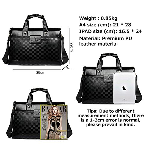 Bag Real Leather 3071 Tote Computer Commute Shoulder Diagonal Jn b Black Embossed Capacity Casual Business 's Large Men 2018 Popular 6P0dqw