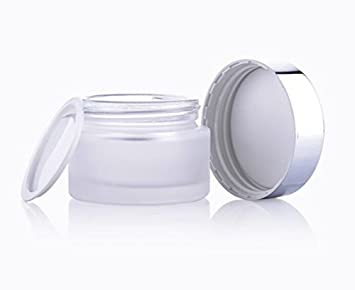 72e5c260763d AKOAK 3 PCS 20g Refillable Frosted Glass Cosmetic Cream Jar Bottle  Container with Silver Alumite Lids