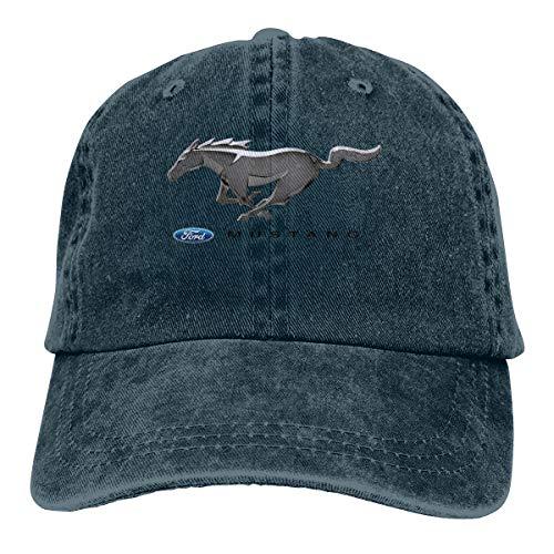 Mens Vintage Adjustable Cap Custom Ford Mustang Auto Logo Fashion Baseball Cap, Navy