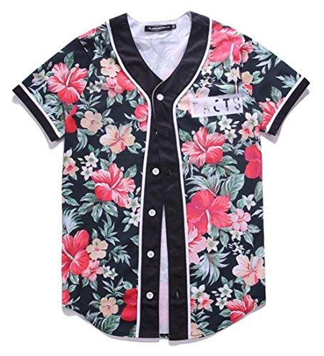LuckB Mens 3D Printing Graphic Baseball Jersey Hipster Hip Hop Short Sleeve T-Shirt by LuckB