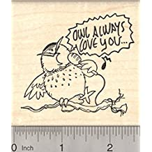 Owl Valentine's Day Rubber Stamp, Singing Always Love You