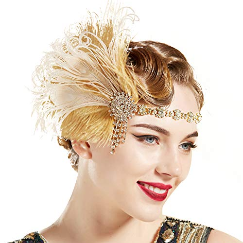 BABEYOND 1920s Flapper Headband Roaring 20s Headpiece Gatsby Peacock Feather Headpiece with Crystal ()