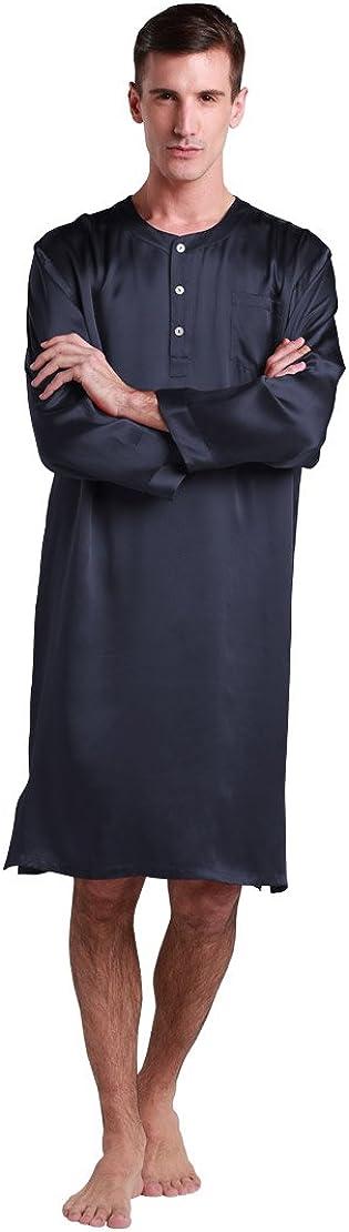 LilySilk Burdundy Silk Nightshirt for Men Luxury Comfortable Mulberry Nightshirt 100% Silk Claret