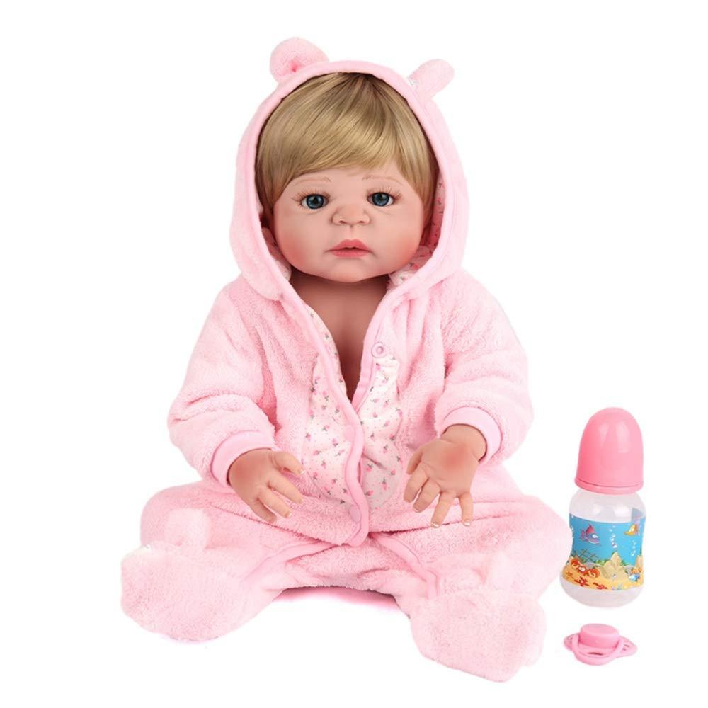 Reborn Baby-Puppe aus weichem Silikon, realistisch, Rollenspiel, niedliches Neugeborenenes, lebensechtes Baby-Puppe mit Kapuze, Schlafspielzeug, Milchflasche, wiedergeborenes Kindergarten, Babypuppe B07NYV5MMN Babypuppen Neuer Stil  | Vogue
