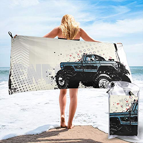 K0k2to Fast Drying Beach Travel Camping Towel,Halftone Pattern Background with Color Splashed Frame and Monster Truck Motif,Quick Dry Lightweight Bath Towel