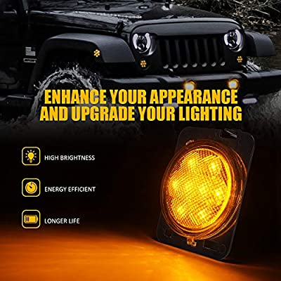 Xprite LED Amber Yellow Front Fender Side Marker Light Assembly with Clear Lens for 2007-2020 Jeep Wrangler: Automotive