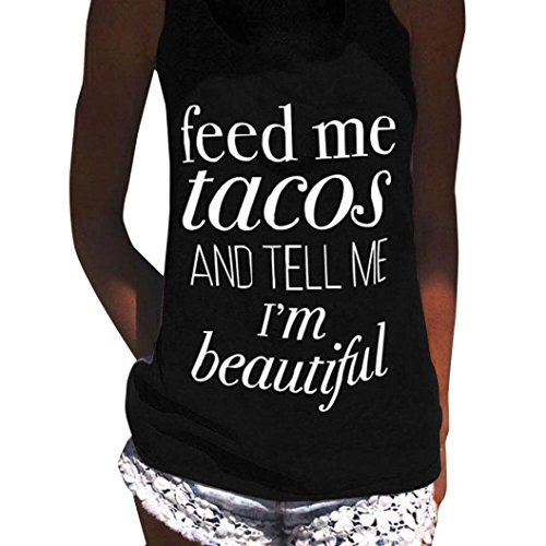 Big Promotion! Wintialy Womens Feed Me Tacos Letter Print Sleeveless Tank Tops