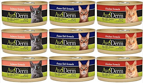 AvoDerm Natural Canned Cat Food 3 Flavor Variety Bundle: (3) Salmon Formula, (3) Ocean Fish Formula, (3) Chicken Formula, 5.5 Oz Each, (9 Cans Total)