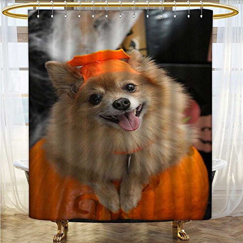 Mikihome Shower Curtain Collection by Halloween Costume Puppy Patterned Shower Curtain W54 x H84 -