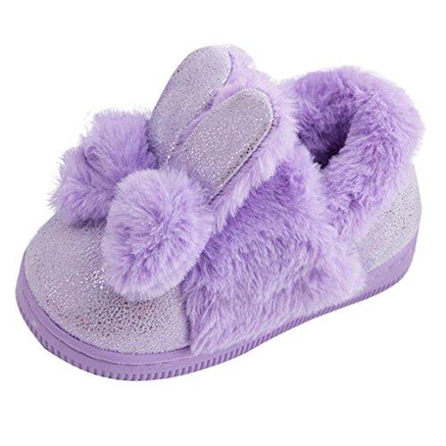 Janly Nette Kleinkind-Bogen-Baby-Plüsch-weiche alleinige rutschfeste warme Samt-Schnee-Schuhe Lila
