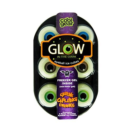 Cool Gear 6 Glow in the Dark Eyeball Ice Cubes (Non Toxic Gel) Serve Chilling Drinks