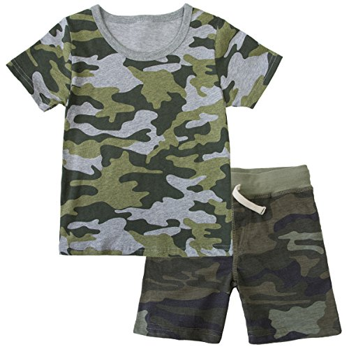- Kid Camo Clothing Set Little Boy Short Sleeve T Shirt and Shorts 2 Piece Outfit 6T