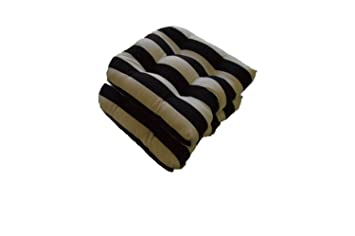 Set Of 2   Universal Tufted U Shape Cushions For Wicker Chair Seat   Black