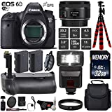 Canon EOS 6D DSLR Camera with 50mm f/1.8 STM Lens + Professional Battery Grip + UV Protection Filter + Flash + Extra Battery + Case + Wrist Strap + Tripod + Card Reader - International Version
