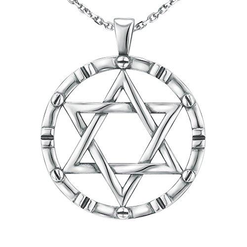 - 925 Sterling Silver Charm Vintage Oxidation Men's Star of David Pendant Necklace