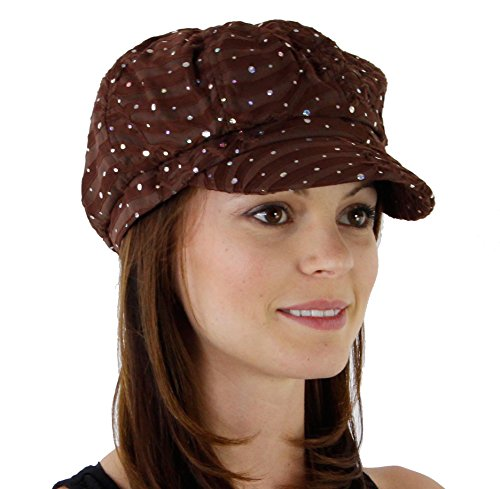(Glitter Sequin Trim Newsboy Style Relaxed Fit Cap, Brown)