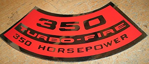 CHEVROLET 350 TURBO-FIRE TURBOFIRE 350HP AIR CLEANER TOP LID DECAL STICKER NEW