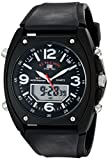 U.S. Polo Assn. Sport Men's US9052 Analog-Digital Black Dial Black Rubber Strap Watch