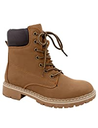 Women's Combat Lace Up Padded Cuff High Top Hiking Work Shoes Ankle Short Boot