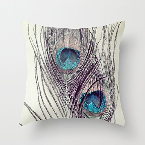 Beautiful Peacock Feathers Canvas Decorative Pillows Throw Pillow Covers 18 x 18 for Girls Room