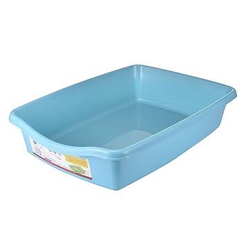 Arenero para gatos y mascotas, color azul, grande, abierto, de plástico suave