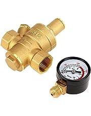 Regulador de presión de agua de latón, reductor de presión de agua DN15 Reductor de regulador de presión de agua ajustable de metal con medidor de medidor