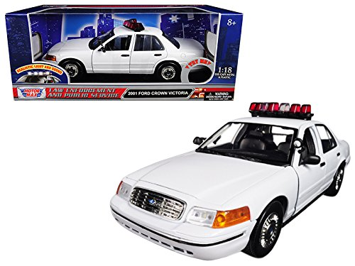 - 2001 Ford Crown Victoria Police Car Plain White with Flashing Light Bar, Front and Rear Lights and Sounds 1/18 Model Car by Motormax