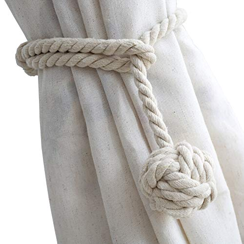 DEZENE 2 Pack Curtain Tiebacks,Handmade Natural Cotton Rope and Round Finial Drapery Tie Bakes,Decorative Holdbacks Holders for Window Sheer and Blackout Panels,Beige