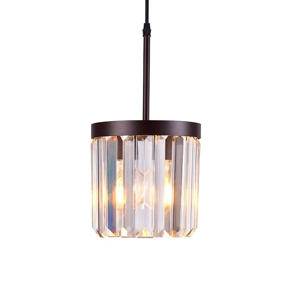 Kitchen Island Pendant Lighting, Modern Crystal Chandelier Bronze, One Light Elegant Hanging Lamp for Island, Dining Room, Bathroom, Foyer(7.5 inch)