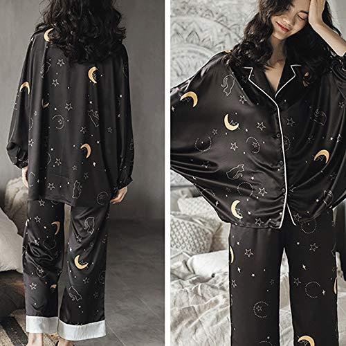 Goodvk Conjunto De Pijama De Mujer Pijamas Set De Raso Con Botones De Manga Larga Ropa De Dormir Ropa De Noche De Vacaciones Loungewear Clasico Saten Conjunto De Pijama Suave De Bambu